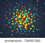 colorful confetti of stars and... | Shutterstock .eps vector #736507282