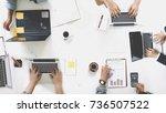 startup business team meeting ... | Shutterstock . vector #736507522