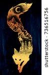 double exposure  deocrative fox ... | Shutterstock .eps vector #736516756