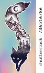 double exposure  deocrative fox ... | Shutterstock .eps vector #736516786