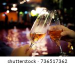 alcohol cheers clink glasses of ... | Shutterstock . vector #736517362