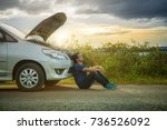 man with broken down car flat... | Shutterstock . vector #736526092