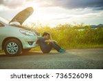 man with broken down car flat... | Shutterstock . vector #736526098