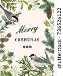 christmas card with two birds... | Shutterstock .eps vector #736526122