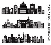 city skyline silhouette set | Shutterstock .eps vector #736527652
