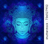 buddha head with paisley... | Shutterstock .eps vector #736527952