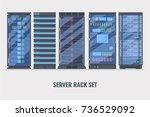 set of various cartoon server... | Shutterstock .eps vector #736529092