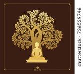 visakha puja day  buddha statue ...   Shutterstock .eps vector #736529746