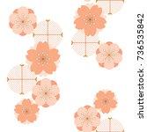 japanese pattern vector. cherry ... | Shutterstock .eps vector #736535842