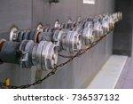 Row Of Metallic Fire Hydrants...