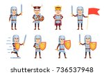 set of medieval knight... | Shutterstock .eps vector #736537948