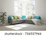 idea of white minimalist room... | Shutterstock . vector #736537966