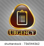 golden emblem with list icon... | Shutterstock .eps vector #736544362