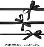 set of black bow with... | Shutterstock .eps vector #736549342