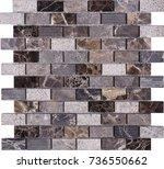 seamless brown marble mosaic... | Shutterstock . vector #736550662