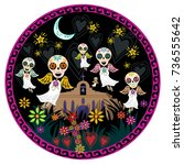 Stock vector day of the dead angelitos with flowers under moon and stars 736555642
