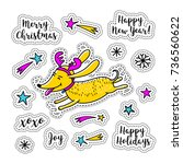 cartoon sticker christmas... | Shutterstock .eps vector #736560622