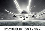 airliner in sky. mixed media | Shutterstock . vector #736567012