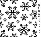 snowflake seamless pattern or... | Shutterstock .eps vector #736572832