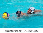 BLOEMFONTEIN, SOUTH AFRICA - JANUARY 28: Unidentified water polo players in action during the annual Grey College water polo tournament on January 28, 2011 in Bloemfontein, South Africa - stock photo