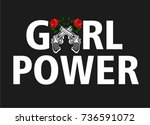 vector embroidery with roses...   Shutterstock .eps vector #736591072