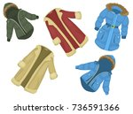 winter clothing set consisting... | Shutterstock .eps vector #736591366