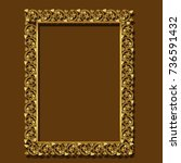 frame gold color with shadow on ... | Shutterstock .eps vector #736591432