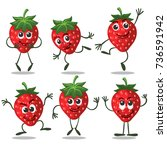 strawberry characters. cute... | Shutterstock .eps vector #736591942