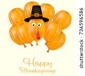 happy thanksgiving day... | Shutterstock .eps vector #736596586