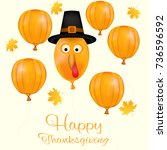 happy thanksgiving day... | Shutterstock .eps vector #736596592