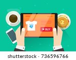 online shopping vector... | Shutterstock .eps vector #736596766