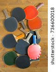 large number of old rackets ... | Shutterstock . vector #736600018