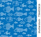 vector seamless doodle fish...