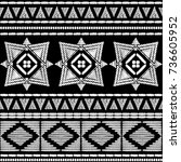 aztec embroidery pattern design ... | Shutterstock .eps vector #736605952