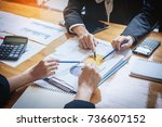 close up of hand of business... | Shutterstock . vector #736607152