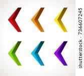 3d arrow icon set. vector... | Shutterstock .eps vector #736607245