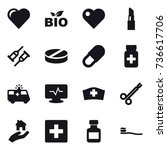 16 vector icon set   heart  bio ... | Shutterstock .eps vector #736617706