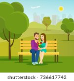 young couple in nature sitting... | Shutterstock .eps vector #736617742