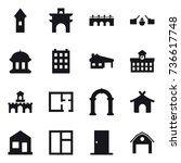 16 vector icon set   tower ... | Shutterstock .eps vector #736617748