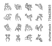 fight action line icon set.... | Shutterstock .eps vector #736620835