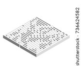 3d square maze labyrinth. grey... | Shutterstock .eps vector #736624582