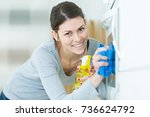 woman cleaning oven with spray... | Shutterstock . vector #736624792