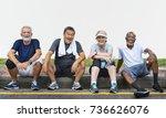 senior group friends exercise... | Shutterstock . vector #736626076