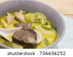 green curry with chicken on bowl | Shutterstock . vector #736636252