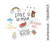 cool t shirt design in doodle... | Shutterstock .eps vector #736638415
