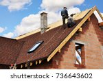 roofers laying and installing... | Shutterstock . vector #736643602