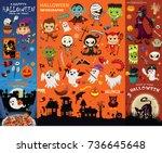 vintage halloween poster design ... | Shutterstock .eps vector #736645648