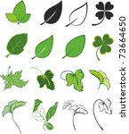 set of  green leaf icons | Shutterstock .eps vector #73664650