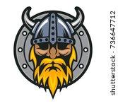 viking's head with shield logo...   Shutterstock .eps vector #736647712