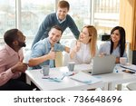 positive delighted partners... | Shutterstock . vector #736648696